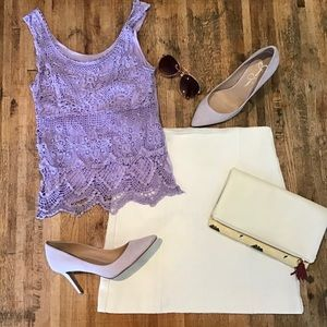 Mudd Light purple crochet-front tank top